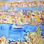 ΜΑΥΡΟΛΕΩΝ ΚΑΤΕΡΙΝΑ, Katerina Mavroleon , PAYSAGE MEDITERRANEE, Acrylic on canvas 95 x 95 cm