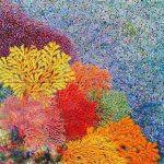 ΜΙΧΑΗΛΙΔΟΥ ΝΙΚΗ, Niki Michailidou, Λουλούδια του Αιγαίου, 120x90cm ακρυλικό σε καμβά με τεχνική pointillism