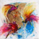Τάσος Δήμος ,Παραδείσια πουλιά, 90x90cm ακρυλικά, λάδι, φύλλο χρυσού, ρητίνη σε καμβά