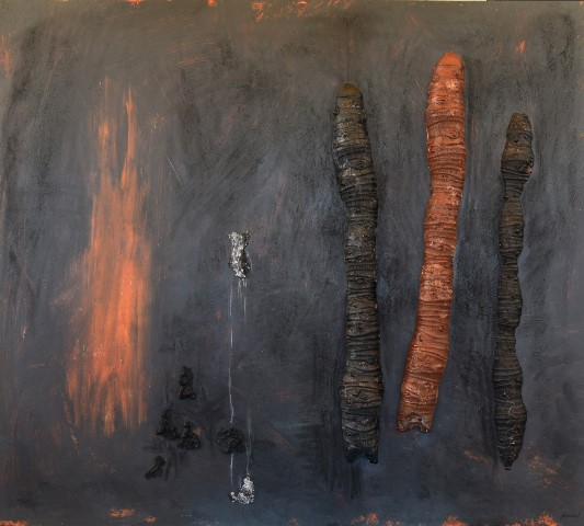 Άννα Αντάρτη Logs 68 mixed mediaand resin on wood 125x110cm 2017