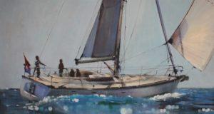Δημήτρης Κρέτσης, Dimitris Krestsis, Sailing Boat, Acrylics on canvas