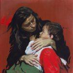 Μητρικό (σπουδή για έργο Ίσιδα και Ωρος). Maternal (study for Isis and Horus painting) oil on canvas 50X50cm. 2018