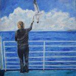 Μηνά Κωνσταντίνα, Feeding the blue, 60x50cm, Λάδι σε καμβά