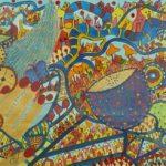 Παπασάββα Ευδοξία, Ίαση, 25x65cm, Μεικτή τεχνική σε χαρτί