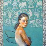 Παπούλια Σμαράγδα, Τι γυρεύει το κορίτσι , 100x70cm, Λάδι σε καμβά