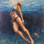 Ράπτη Νάντια, Deep blue water, 80x60cm, Ακρυλικό σε καμβά