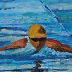 Χατζή Αθηνά, Κολύμβηση, 50x70cm, Ακρυλικό σε καμβά