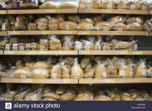 shelves of bread in tesco bratislava ACGRGF