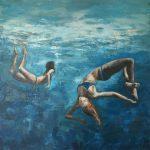 Nadia Rapti, Swirling, 80x80cm, Acrylic paint on canvas