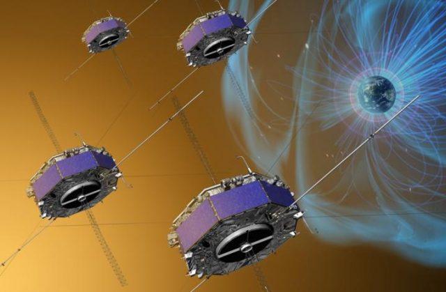 Εικόνα καλλιτέχνη του διαστημικού σκάφους MMS που παρείχε την πρώτη άποψη της μαγνητικής επανασύνδεσης