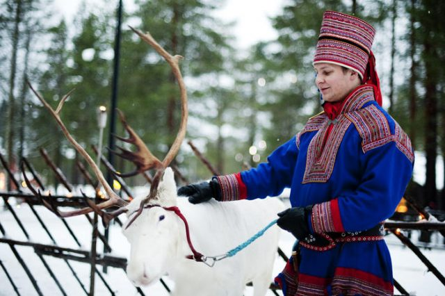 A man in traditional Laplander costume s
