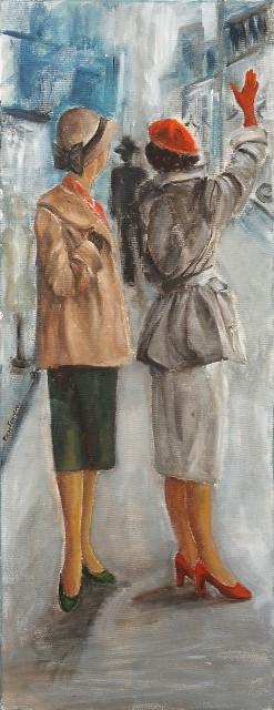 Γεωργανά Έλενα, Des femmes myst re, 35x90cm, Ακρυλικά σε καμβά