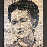 Παναγιωτίδου Αθηνά, Frida, 60x50cm, Ανεξίτηλος μαρκαδόρος σε χαρτί ταπετσαρίας