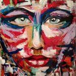 Τριβιζά Μαίρη, Woman in colors, 70x50cm, Ακρυλικά σε καμβά και σπάτουλα