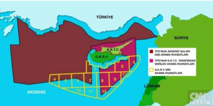Τουρκικός χάρτης για κυπριακή ΑΟΖ 2
