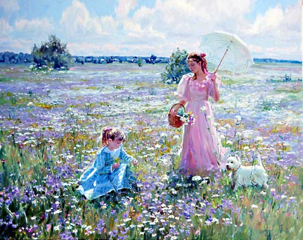 lautrec Mother and daughter on a field of flowers