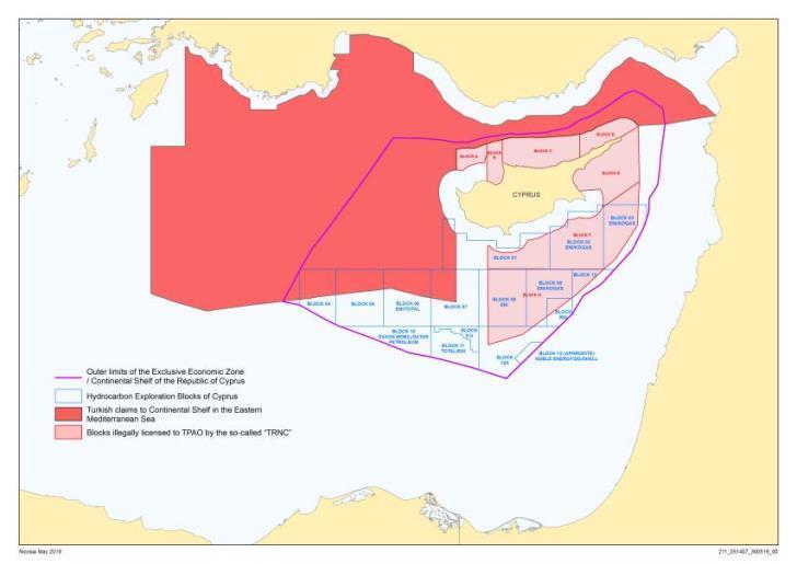 Κυπριακή ΑΟΖ χάρτης ΥΠΕΞ Κύπρου 2