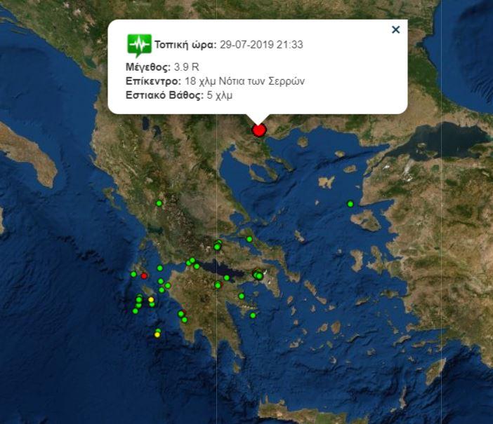 Σεισμός Σέρρες 29-07-2019 21:33