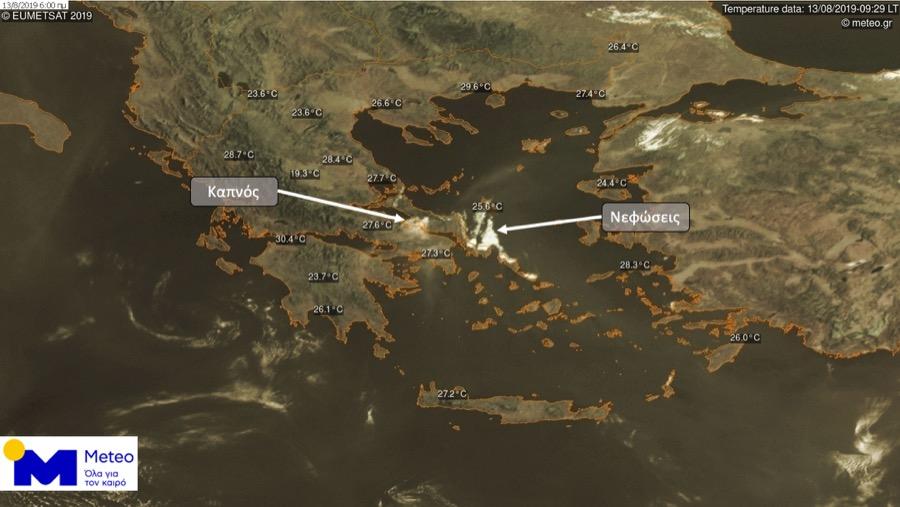 Ορατός από δορυφόρο ο καπνός που κατέκλυσε τον ουρανό της Αττικής από τις φωτιές στην Εύβοια