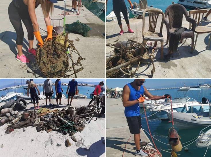 Βρέθηκαν 400 κιλά απορριμμάτων στο λιμάνι του Κιάτου