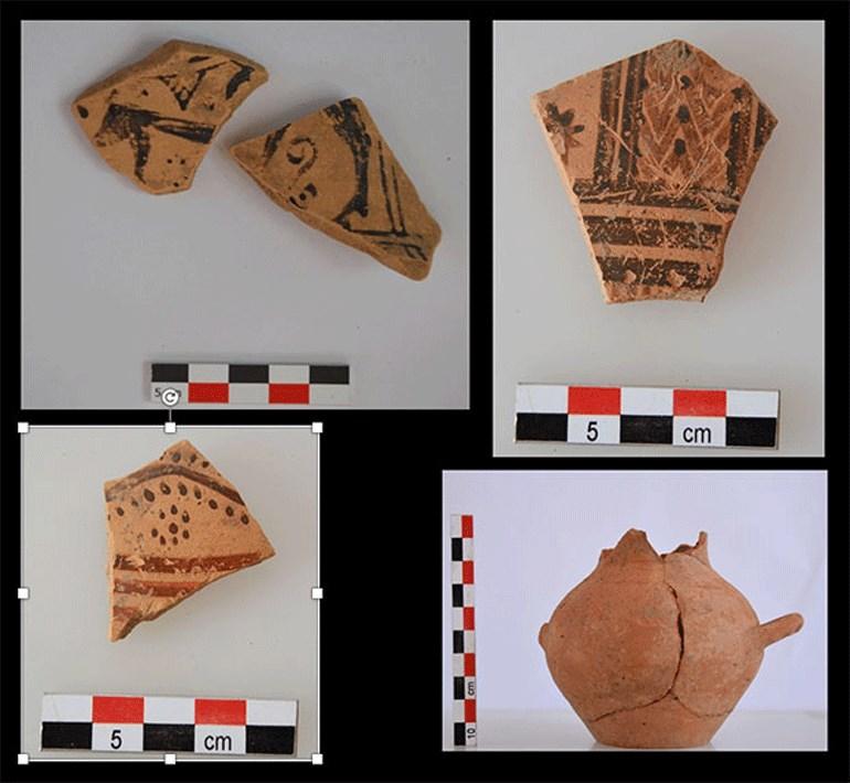 Θραύσματα αγγείων Γεωμετρικής περιόδου από την περιοχή του ιερού