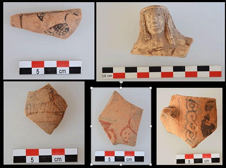 Θραύσματα αγγείων των αρχαϊκών χρόνων από την περιοχή του ιερού.