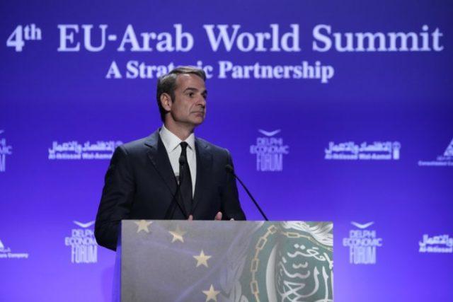 Ο πρωθυπουργός Κυριάκος Μητσοτάκης κατά την 4η Ευρω-αραβική Σύνοδο (EU-Arab World Summit)