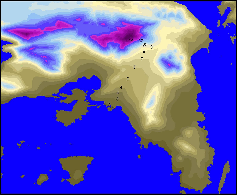Κατανομή χιονοπτώσεων στην Αττική