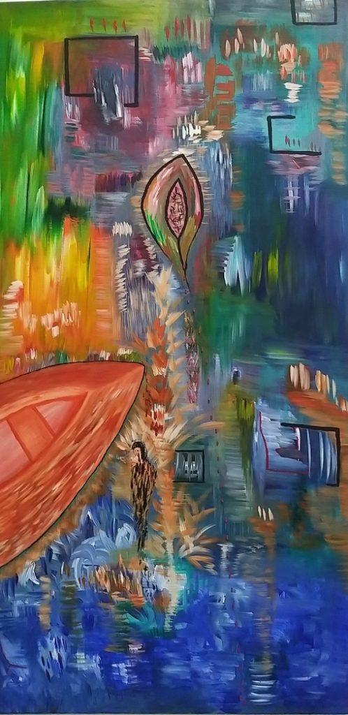 Έλενα Καλαποθάκου, Πάθη κι εμπειρίες, 100x50cm, Ακρυλικά σε καμβά