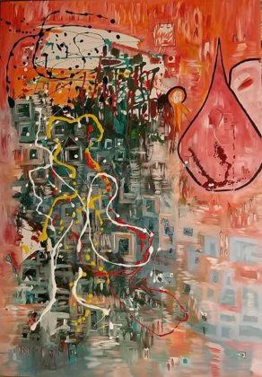 Έλενα Καλαποθάκου, Κόκκινο δάκρυ, 100x70cm, Μικτή τεχνική ακρυλικά σε καμβά