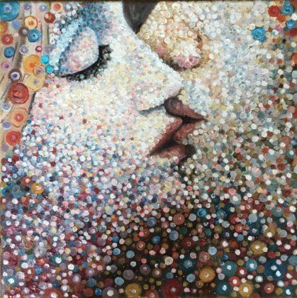 Μαρία Βαμβακίδη, Kiss me, 30x30cm, Λάδι σε καμβά