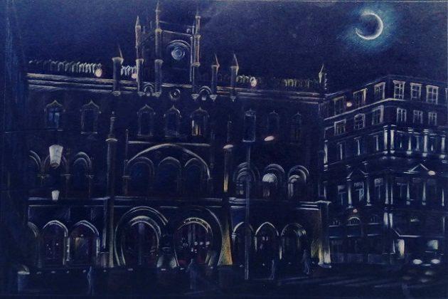 Kostas Schnippering, Night walks in Lisbon, 40x61cm, Χρωματιστά μολύβια σε λείο μαύρο χαρτί