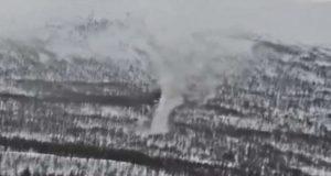 Μεγάλος χιονοστρόβιλος καταγράφηκε στη Νορβηγία