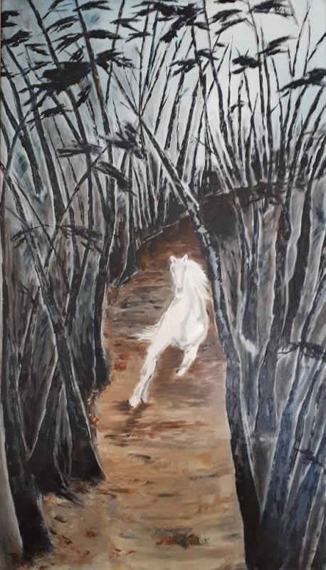 Έκθεση Άννα Κουνάδη, Love everything that lives, 75x42cm, Λάδι σε καμβά