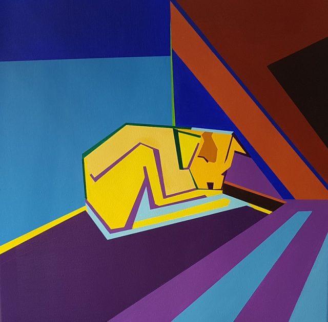 Ιωάννα Μιχοπούλου, Στη γωνιά του δρόμου, 60x60cm, Ακρυλικά σε καμβά