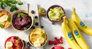 Nice cream with Chiquita banana scoops, matcha and kiwi, strawberries, rasberry, blue berries