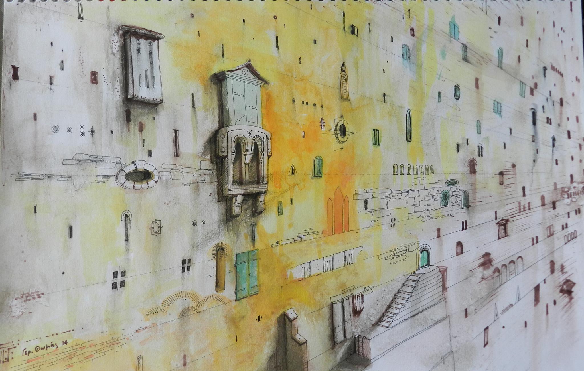 Γεράσιμος Θωμάς, Η ιστορία ενός τοίχου, Μικτή τεχνική