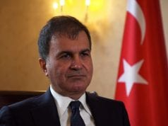 Turkey's European Union Affairs Minister Omer Celik speaks during an interview with Reuters at the Turkish Embassy in London