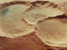 Perspective view of triple martian crater article