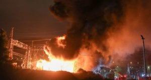 Fire in Aspropyrgos near Athens