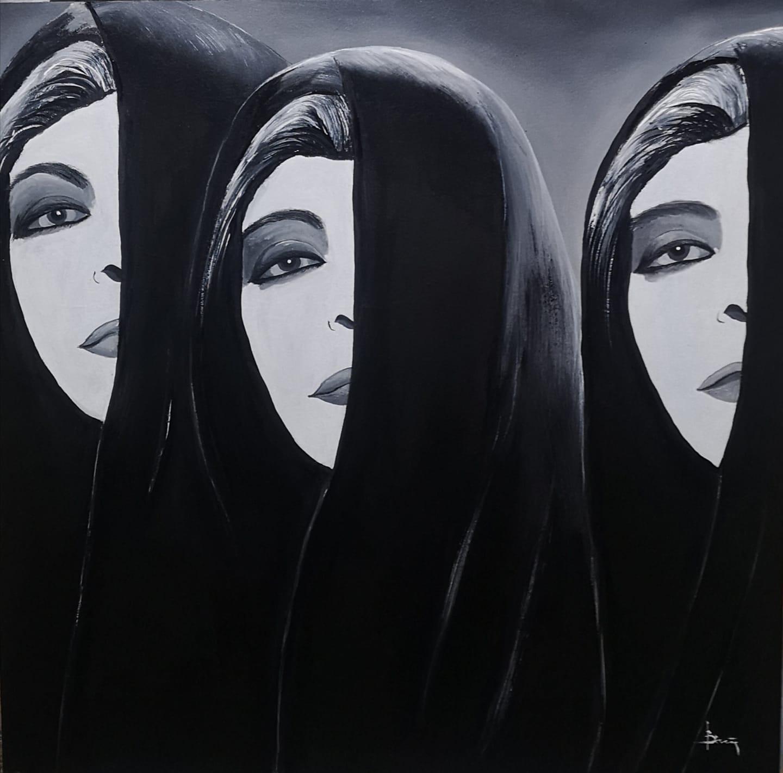 Βασίλης Αξελής. Οι μοιρολογίστρες, 50x50cm, Ελαιογραφία σε ξύλο