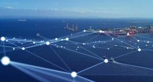 Transportation and technology concept. Shipping industry. Marine radio. Smart logistics.