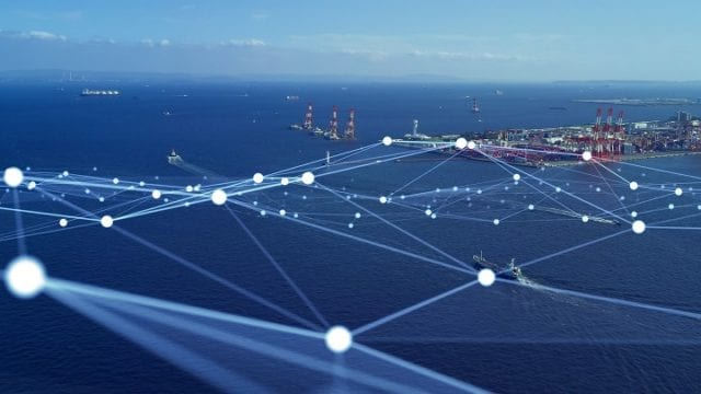 Transportation and technology concept. Shipping industry. Marine radio. Smart logistics.