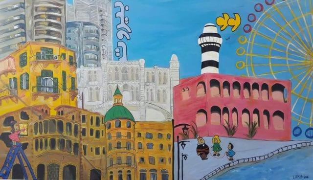 Lamia Oubari, Little Lulu in Beirut, 70x120cm, Ακρυλικά και μαρκαδόροι σε καμβά
