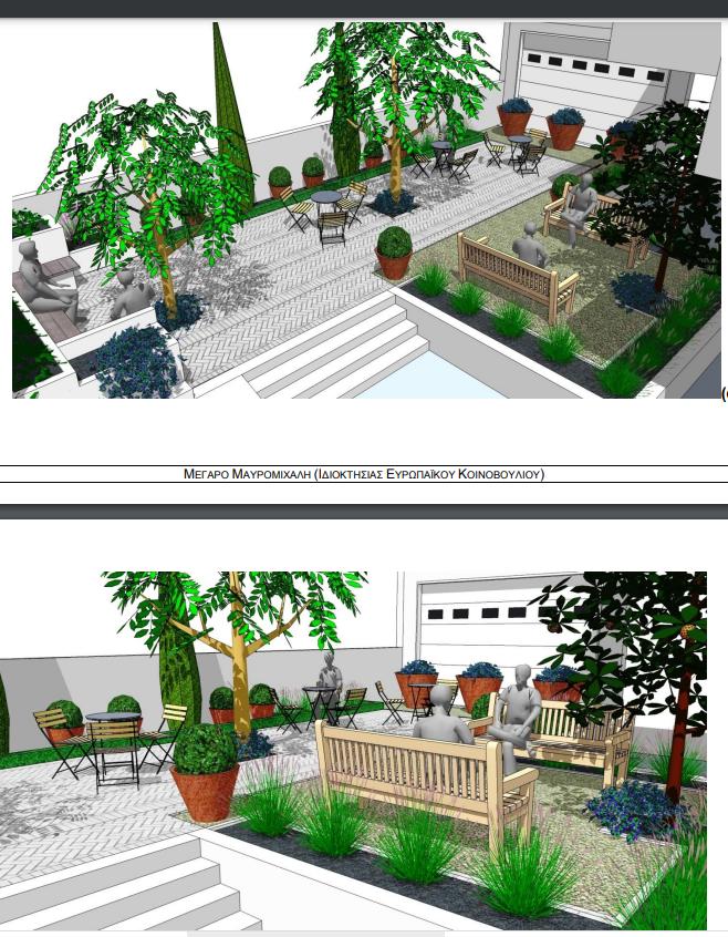 Μέγαρο Μαυρομιχάλη προοπτικό κήπου